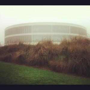 library in morning fog