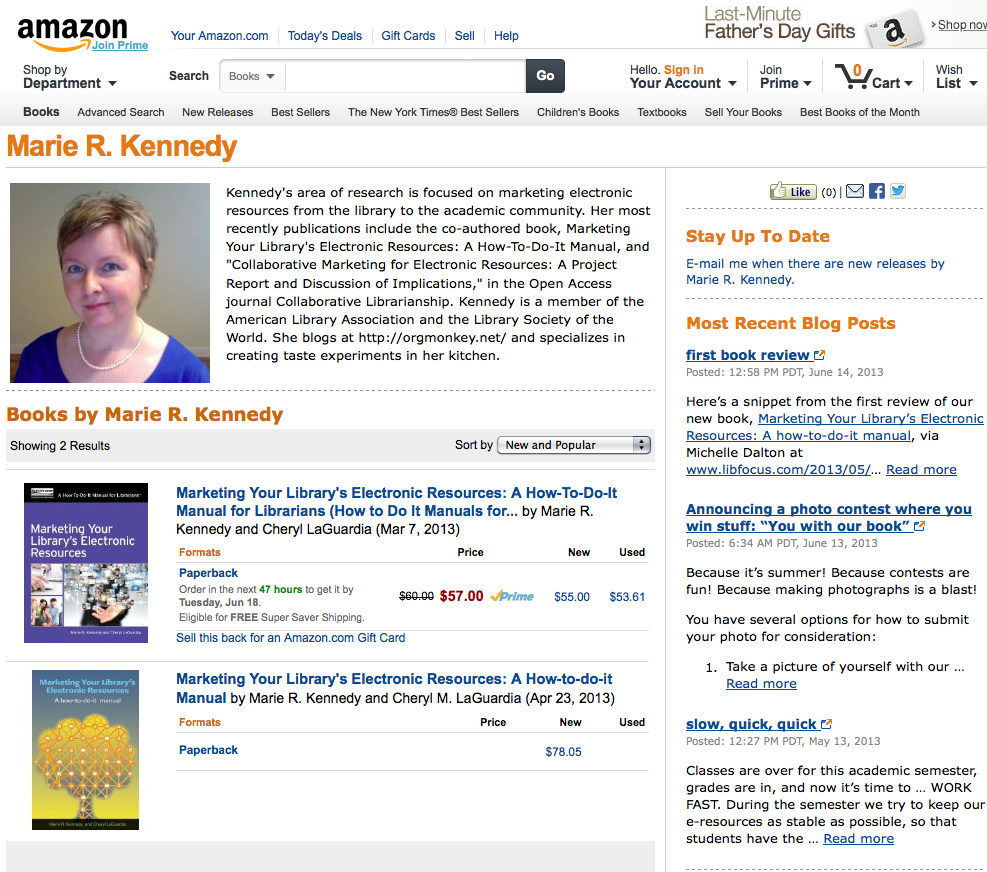 Marie's Amazon author page