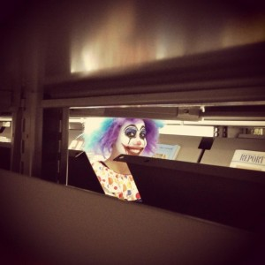 clown in the library