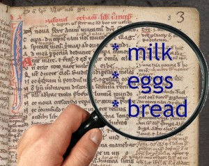 milk, eggs, bread