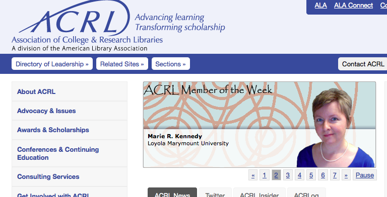 Marie is ACRL Member of the Week!