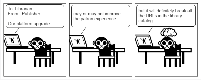 A comic strip about platform upgrade emails from publishers